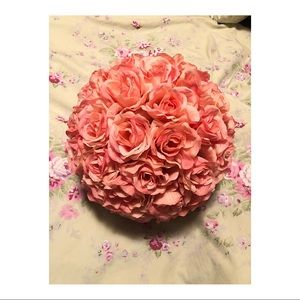 Pink Faux Flower Pomander Ball Home Decor